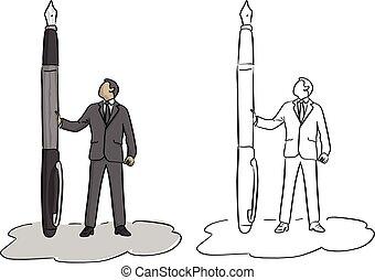 croquis, homme affaires, tenue, grand, lignes, isolé, illustration, main, stylo, vecteur, fontaine, fond, griffonnage, dessiné, blanc, noir