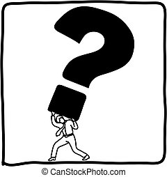 croquis, homme affaires, tenue, grand, question, isolé, illustration, marque, vecteur, arrière-plan noir, griffonnage, dessiné, blanc, main, lignes