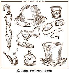croquis, icônes, club, hommes, monsieur, accessoires, vecteur, vêtements