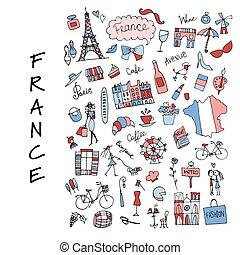croquis, icônes, collection., france, conception, ton