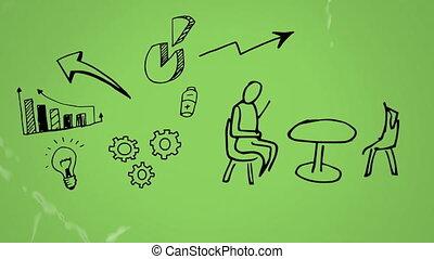 croquis, icônes, deux, symboles, gens parler
