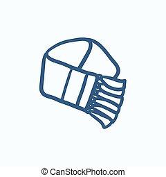 croquis, icon., écharpe