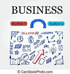 croquis, icones affaires, set., idée, arrière-plan., hand-drawn, vecteur, doodles, illustarion