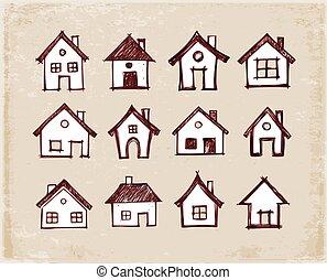 croquis, illustration., arrière-plan., vendange, maisons, vecteur