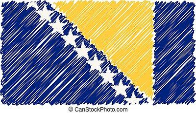 croquis, illustration., bosnie, national, herzégovine, isolé, main, arrière-plan., drapeau, vecteur, dessiné, blanc, style