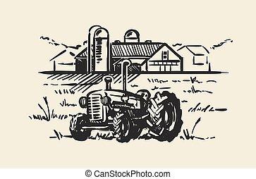 croquis, illustration., ferme, scène, main, rustique, vecteur, tracteur, rural, dessiné, paysage