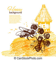 croquis, illustration, main, miel, fond, dessiné