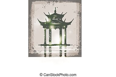 croquis, illustration, main, vecteur, temple., dessiné