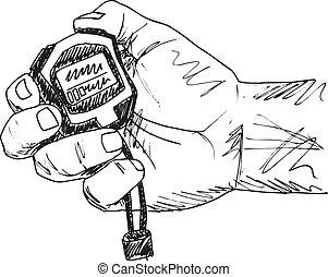 croquis, illustration, main, vecteur, tenue, stopwatch.,...