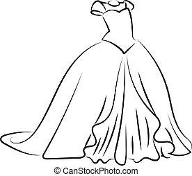 croquis, illustration, robe blanche, vecteur, arrière-plan.