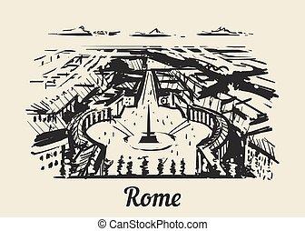 croquis, illustration., rome, vecteur, vatican, dessiné, main