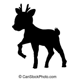 croquis, illustration, silhouettes, isolé, ?, fond, blanc, cerf