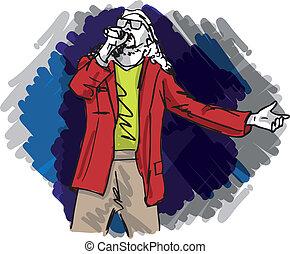 croquis, illustration, vecteur, chant, microphone., homme