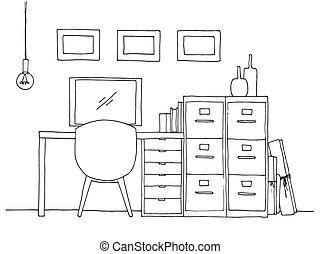 croquis, illustration., vecteur, lieu travail, computer., interior.