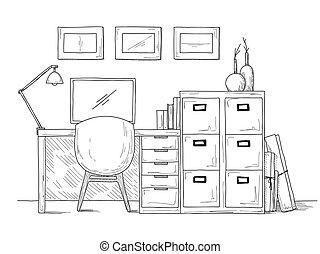 croquis, illustration, vecteur, lieu travail, computer., interior.