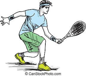 croquis, illustration, vecteur, tennis., jouer, homme