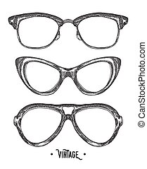 croquis, illustration., vendange, glasses., main, vecteur, hipster, dessiné, style.