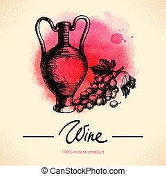 croquis, illustration., vendange, main, aquarelle, arrière-plan., conception, menu, dessiné, vin