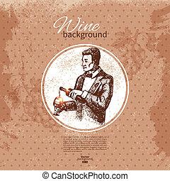 croquis, illustration., vendange, main, arrière-plan., conception, menu, dessiné, vin