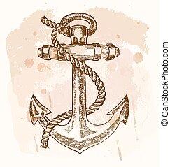 croquis, illustration., vendange, main, arrière-plan., vecteur, dessiné, ancre