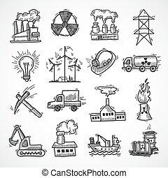 croquis, industriel, ensemble, icône