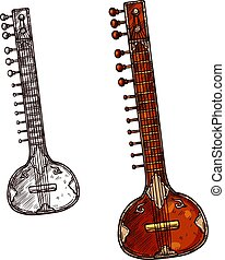 croquis, isolé, sitar, instrument, indien, musical