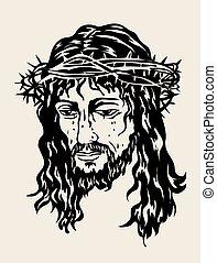 croquis, jésus, dessin, sauveur