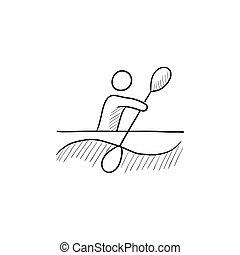 croquis, kayaking, icon., homme
