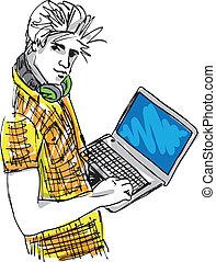 croquis, laptop., illustration, jeune, vecteur, homme