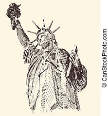 croquis, liberté, main, statue, dessiné, gravé