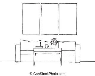 croquis, linéaire, illustration, main, vecteur, interior., dessiné, style.