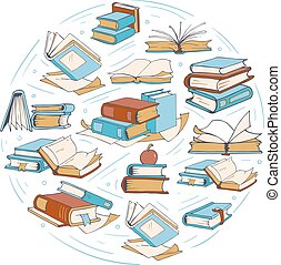 croquis, livres, griffonnage, dessin, club, vecteur, logo, livre, bibliothèque