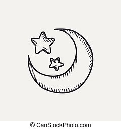croquis, lune, étoiles, icon.