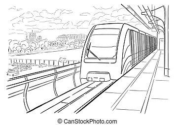 croquis, métro, lumière, moscou, main, station, dessiné
