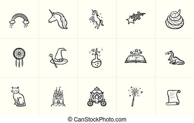 croquis, magie, conte fées, thème, set., icône