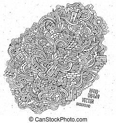 croquis, main, maisons, fond, doodles, dessiné