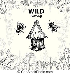 croquis, maison, abeille, vecteur, hive., honey., sauvage