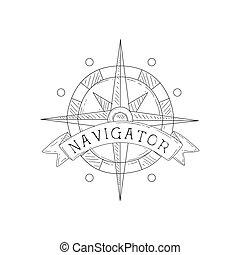 croquis, mer, vendange, symbole, nautique, main, gabarit, rose, dessiné, étiquette, vent