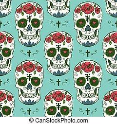 croquis, mexicain, crâne