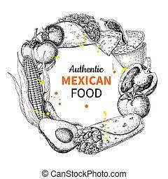 croquis, mexicain, frame., nourriture, cuisines, étiquette, traditionnel, dessin