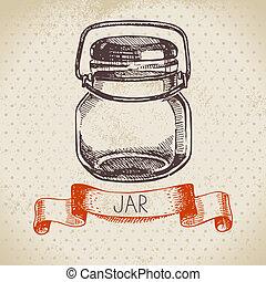croquis, mise en conserve, pot., rustique, maçon, vendange, dessiné, main, design.