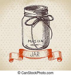 croquis, mise en conserve, pot., rustique, maçon, vendange, ...