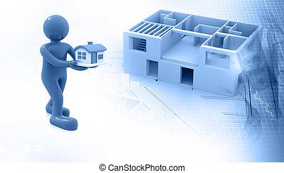 croquis mise point, architectural, projet