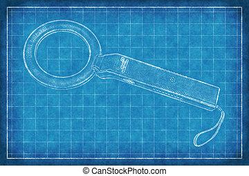 croquis mise point, détecteur, -, métal