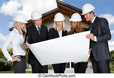 croquis mise point, groupe, tenue, architectes