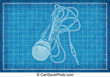 croquis mise point, microphone, -