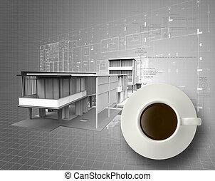 croquis mise point, tasse, ingénieur, café, 3d