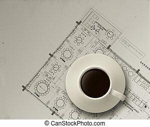 croquis mise point, tasse, ingénieur, café, architectural, 3d