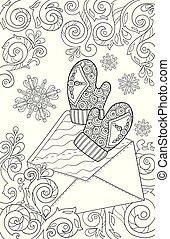 croquis, mitaines, année, coloration, hiver, snowflakes., griffonnage, pattern., neige, colouring., noir, dessiné, noël blanc, theme., book., main, graphique, adulte, lettre, nouveau, gosses, page