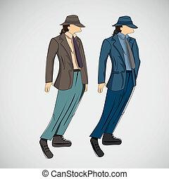 croquis, mode, eps, vecteur, homme, vêtements
